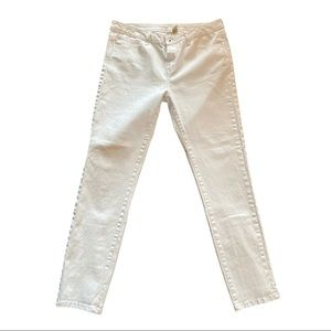 Zara Basic Denim White Jeans With Lace Up Calf 10